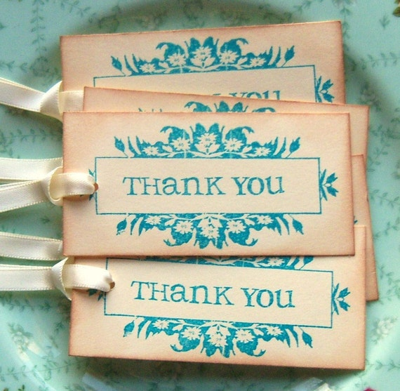 Thank You Tags - Vintage Inspired - Shabby Chic - Teal Aqua Manila Cream