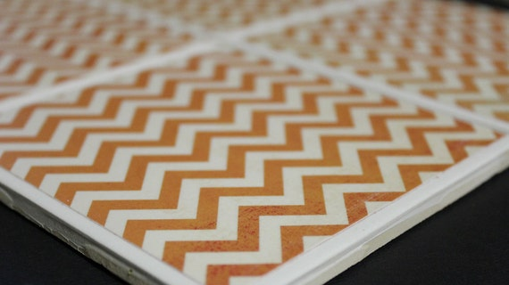 Orange Chevron: Ceramic Coasters