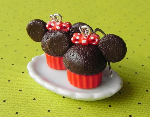 Minnie Mouse cupcake earrings