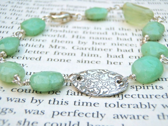 chalcedony and aquamarine gemstone charm bracelet . eco silver hope charm . wire wrapped gemstones by peacesofindigo
