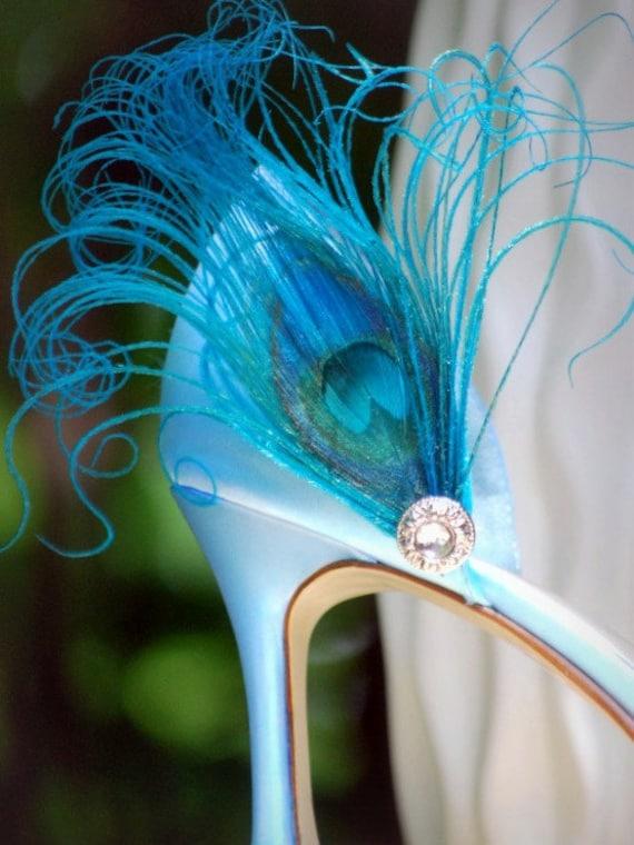 Rhinestone Shoe Clips Special Day Turquoise Peacock 'n' Fashion Statement Elegant Couture Bridal Stunning bridal boudoir bride Sofisticata