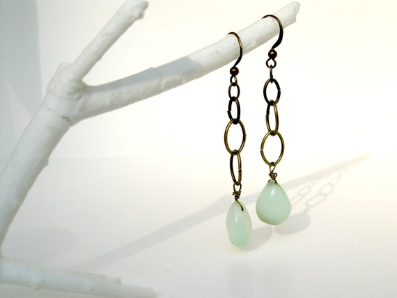 RESERVED for the One-Beloved.Blogspot.com Contest Winner-Dangle Chalcedony Earrings in Antique Brass - Dangling over Water