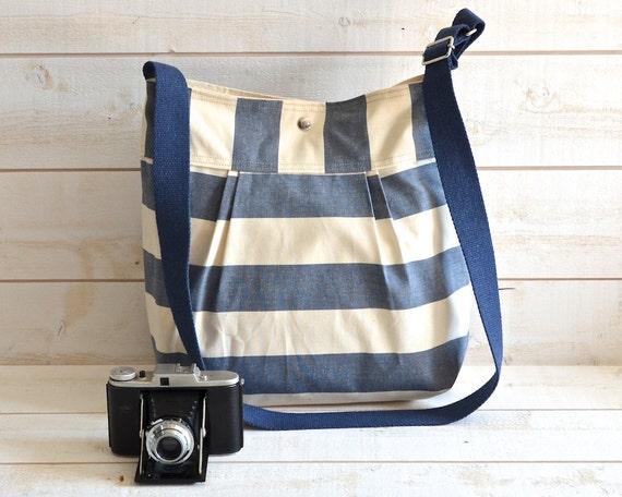 NEW 2012 -Stripes CANVAS  Diaper bag - Shoulder Bag - Everyday Purse - Messenger -Water Proof -STOCKHOLM  Navy and Ecru  Pleated/ 8 Pockets