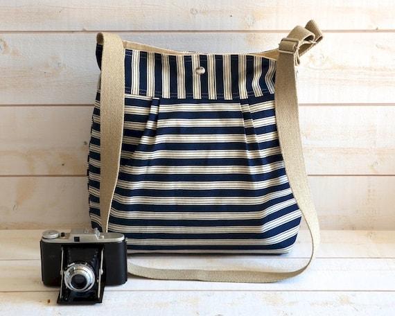 Diaper bag - Shoulder Bag - Messenger -Travel bag SAIL TOTE -Water resistant -STOCKHOLM Ticking Navy and Ecru  Stripes -8 Pockets