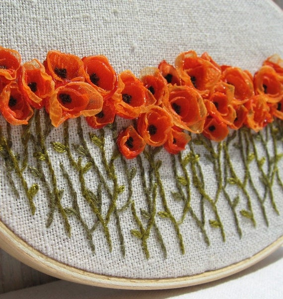 Hand Embroidered Orange Poppy Field Wall Art