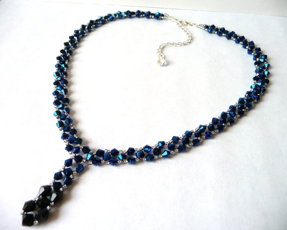 handmade bead woven necklace in metallic blue black and