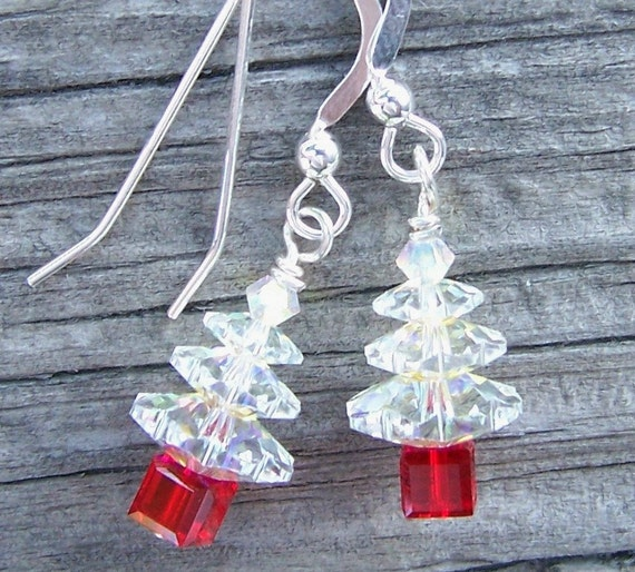 Holiday Christmas Tree Earrings with Swarovski Crystals and Sterling Silver