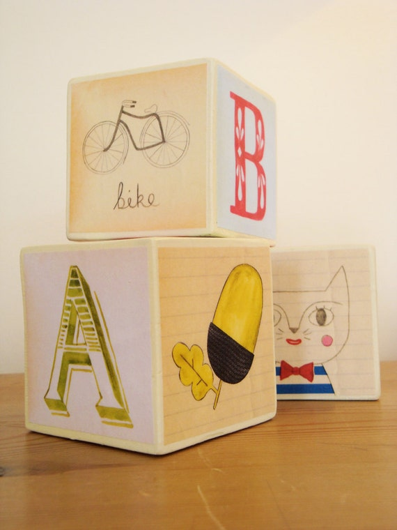 Alphabet blocks - set of 3 illustrated alphabet blocks