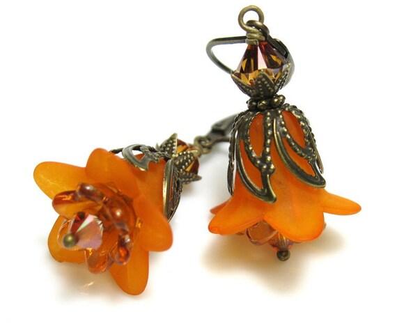 Orange Vintage Style Swarovski Lucite Flower Earrings