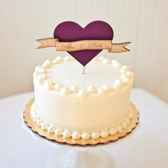 the woodland heart wedding cake topper in berry birch wood