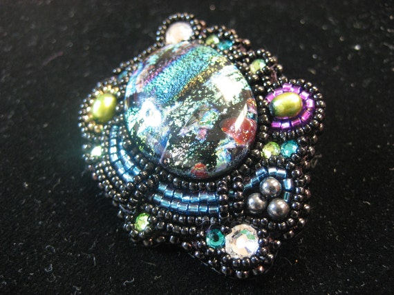 City Lights Embroidered Brooch OOAK