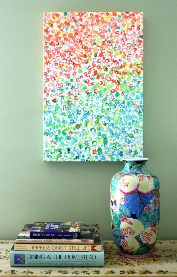 Colors, Watercolor Giclee Print on Canvas
