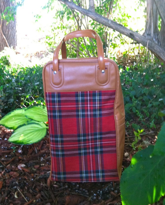Vintage Aladdin Tartan Plaid Tote with Thermos and Sandwich Box