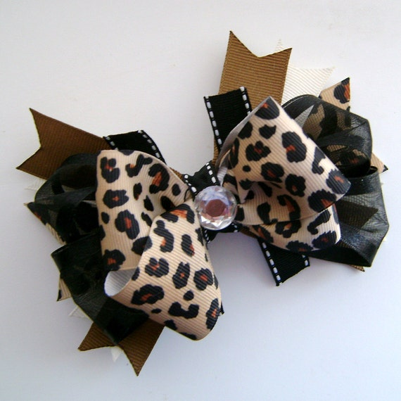 Leopard Stacked Boutique Bow with Spikes