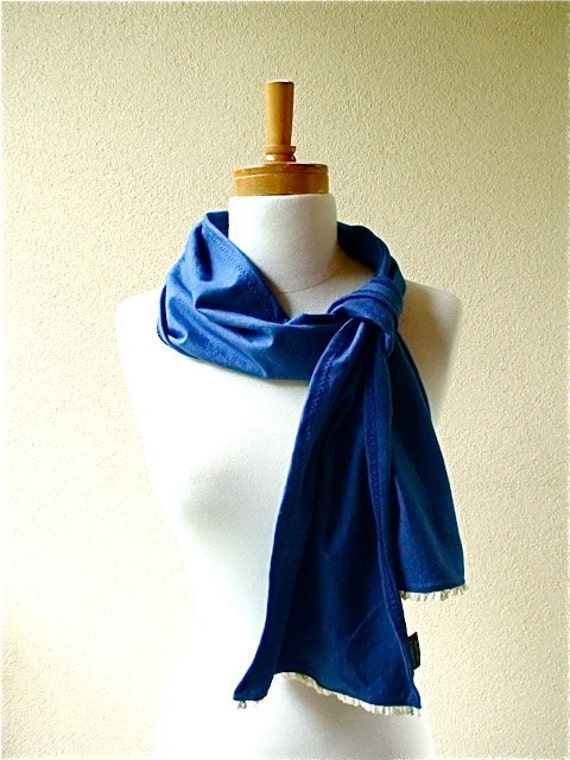 Long lacy scarf in royal blue - hand dyed organic cotton and cotton lace