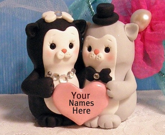 Personalized Tuxedo Cats Wedding Cake Topper From ButtonwilloeDesigns