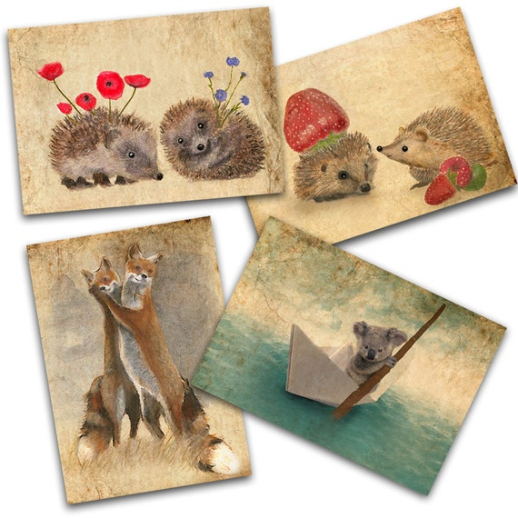 Set of 4 Art cards SPRING IS COMING