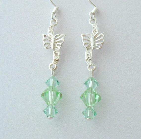 Crystal Butterfly Earrings, Mint Green Swarovski Crystallized Elements, Sterling Silver
