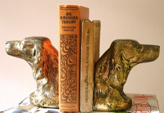 Antique Brass Dog Head Bookends
