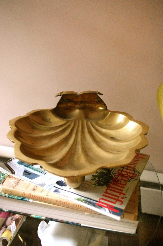 LARGE Antique Brass Scalloped  Tray