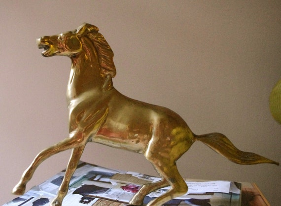 LARGE Antique Brass Horse Figurine
