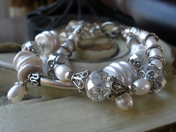 Pearl Bracelet with crystals and sterling silver