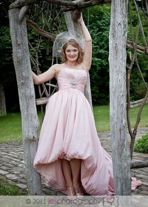 Pink Wedding Dress with HighLow Bubble Hem Inspired by Amsale Aurora