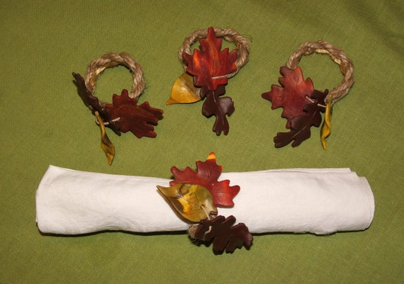 Polymer Clay Leaf Napkin Holders