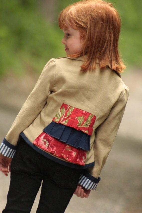 Girls Linen Blazer Custom Boutique Hand-made, sizes 2 - 10 years tan, red, navy Ruffle  - MCCLAIRE -