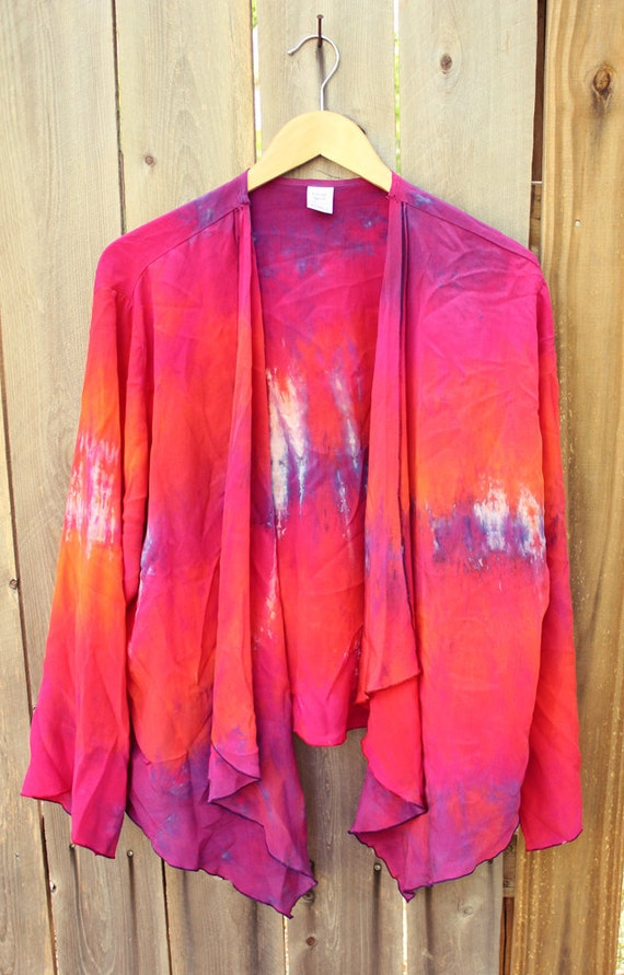 SALE - Gorgeous Vibrant Colorful Shibori Hand Painted Crepe de Chine Silk Cascading Drape Jacket