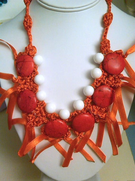 Tangerine Twist/ Crocheted Ribbon Necklace with White Shell and Coral Howlite