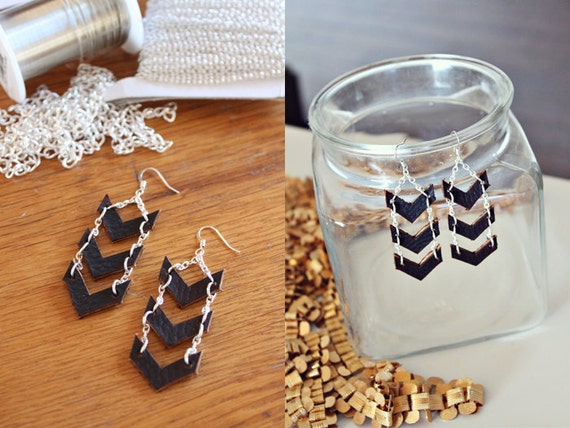 no. 407  Silver Chevron Dangle Earrings