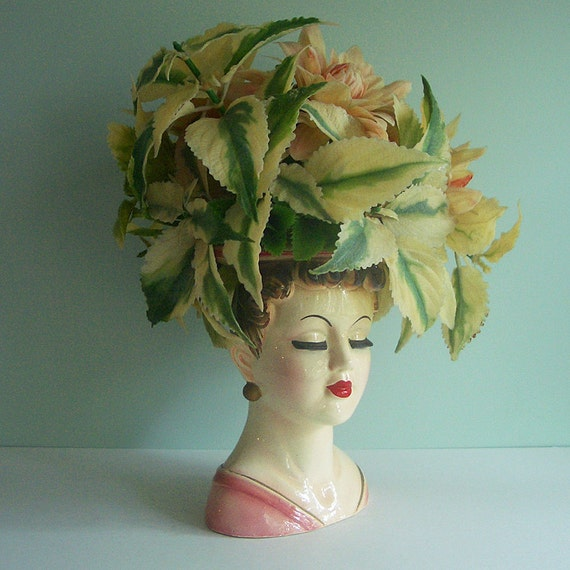 1950s Lady Head Vase Filled with Kitschy Plastic Flowers