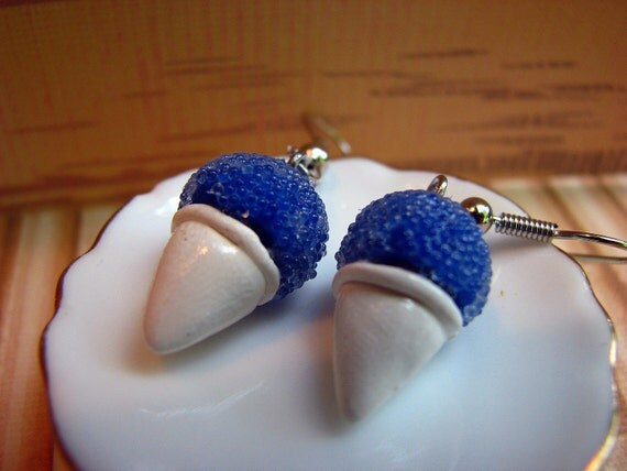 Blue Snow Cone Polymer Clay Earrings