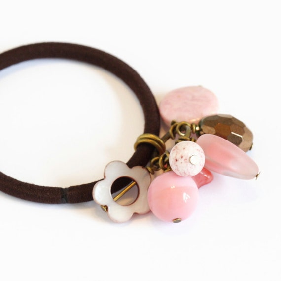 Beaded Hair Elastic - Pink and Brown - Gorgeous Combo