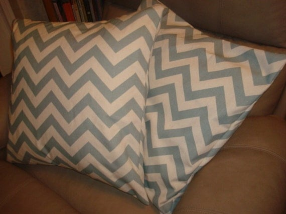 "Set of TWO 18"" x 18"" village blue/natural chevron pillows, envelope closure"
