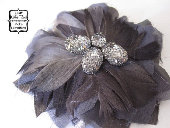 Перо Цветок для изготовления fascinators - Дамских - Волосы Цветы, Pin, перья, банты - Дым Серый