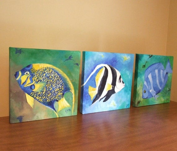 Tropical Fish Paintings On Canvas