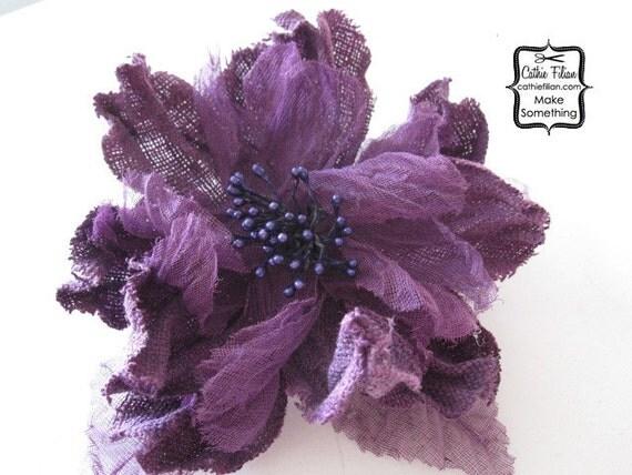 1 Большой - Постельное белье и марлевые Цветок - фиолетовый - шелк, Дамских, Измененные Couture, волос Цветы, Pin