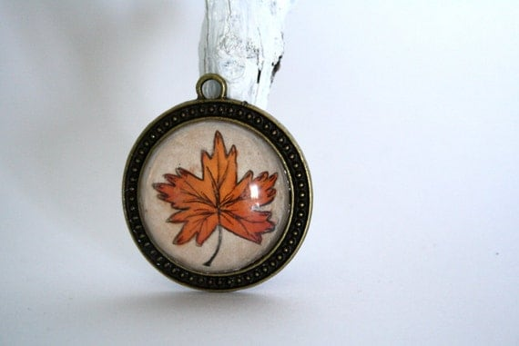 Autumn Leaf- Hand painted necklace