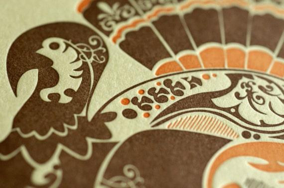 Natalie's Turkey - Letterpress Bird Notecard - Butter Yellow