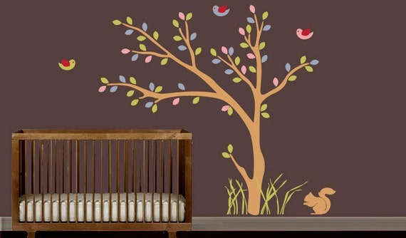 Vinyl Wall Art Tree Decal - Nursey - Birds & Bunny