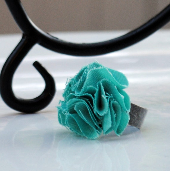 Turquoise Cotton Fabric Floral Ring