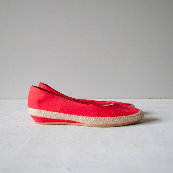 Vintage Red Canvas ESPADRILLE Wedges by MariesVintage on Etsy from etsy.com
