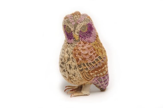 Owl Embroidered Fabric Bird