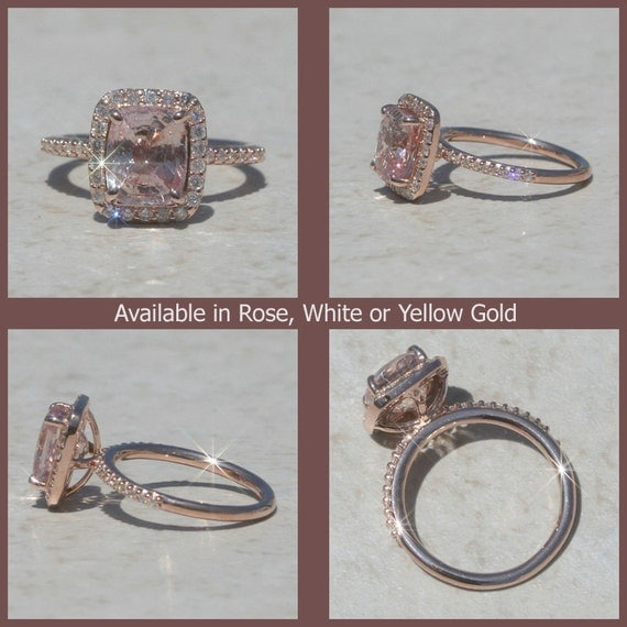Dainty Cushion Cut Pink Sapphire and Diamond Ring in Rose Gold - LS1673