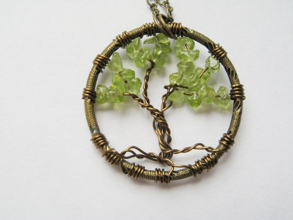 Black Friday Sale - Tree of Life Pendant - August birthstone, Peridot - Made to Order