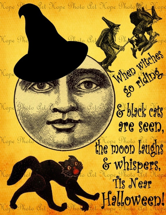 Halloween Moon Witches of the Night  Image Transfer - Burlap Feed Sacks Canvas Pillows Towels greeting cards - U Print JPG 300dpi