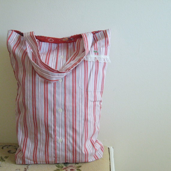 50% OFF SALE - i was a shirt tote - reversible