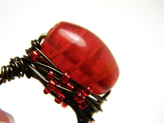 Bright Red Swirl Glass Bead Gun Metal Wire Wrapped Ring